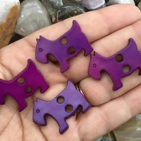 Set of 4 Purple Scottie Dog Buttons!