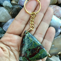 Dragon's Blood Jasper Gemstone Keyring or Handbag Charm.