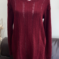 Long Line Lacy Knit Burgundy Ladies Hand Knitted Jumper UK size 12 to 14.