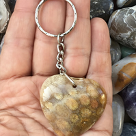 Superb Chrysanthemum Fossil Coral Gemstone Heart Keyring or Handbag Charm.