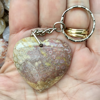 Blush Chrysanthemum Fossil Coral Heart Gemstone Keyring or Handbag Charm.