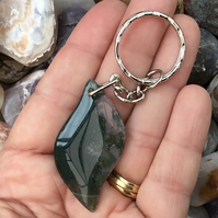 Green Moss Agate Elliptical Marquise Gemstone Keyring or Handbag Charm.