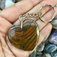 Stunning Iron Tiger's Eye Gemstone Heart Keyring or Handbag Charm.