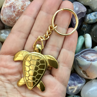Midas Turtle!  Golden Hematite Gemstone Turtle Keyring or Handbag Charm.