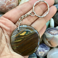 Stunning Iron Tiger's Eye Gemstone Keyrng or Handbag Charm.