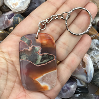 Stunning Rhyolite Rainforest Jasper Gemstone Keyring or Handbag Charm.