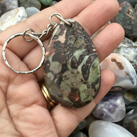Cloud Burst! Pretty Rhyolite Rainforest Jasper Gemstone Keyring or Handbag Charm