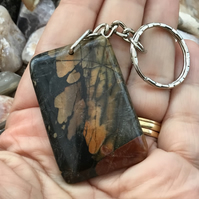 Golden Flair! Stunning Fancy Jasper Gemstone Keyring or Handbag Charm.