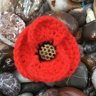 Pretty Poppy Crocheted Corsage with Vintage Glass Button Centre.