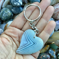 Ice White!  Striped White Agate Stylised Heart Gemstone Keyring or Handbag Charm