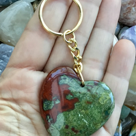 Dragon's Blood Jasper Heart Gemstone Keyring or Handbag Charm.