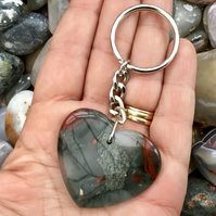 Pigeon Blood Jasper Gemstone Heart Keyring or Handbag Charm.
