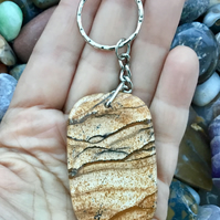 Beautiful Picture Jasper!  A Picture Jasper Gemstone Keyring or Handbag Charm.