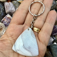 Ice White!  Beautiful Triangular Striped Agate Gemstone Keyring or Handbag Charm