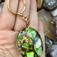Stabilised Golden Sparkle Ocean Jasper Gemstone Keyring or Handbag Charm.