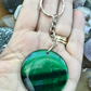 Forest Green!  Beautiful Deep Green Agate Gemstone Keyring or Handbag Charm.