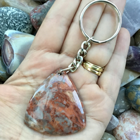 Crazy Lace Agate Triangular Gemstone Keyring or Handbag Charm.
