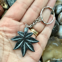 Resolution Leaf!  Hematite Leaf Gemstone Keyring or Handbag Charm.
