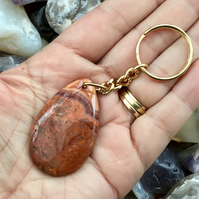 Russet Tones Cracy Lace Agate Gemstone Keyring or Handbag Charm.