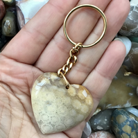 Beautiful Chrysanthemum Fossil Coral Gemstone Heart Keyring or Handbag Charm