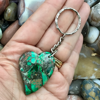 Forest Tones! Stabilised Ocean Jasper Gemstone Keyring or Handbag Charm.