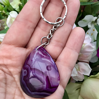 Stunning Regal Purple Agate Gemstone Keyring or Handbag Charm.