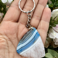 Ice Blue Banded Agate Gemstone Keyring or Handbag Charm.