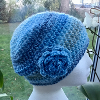 Sky Blue Rose, Crocheted Beanie or Slouchy Hat in James C Brett Rustic Yarn.