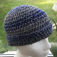 Steel Blue!  Crocheted Beanie or Slouchy Hat in James C Brett Chunky Rustic yarn