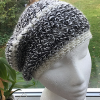 Marbled Grey!  Pretty Crocheted Soft Beret, Slouchy or Beanie Hat.