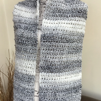 White and Grey Marble!  Wide Super Chunky Variegated Crocheted Scarf!