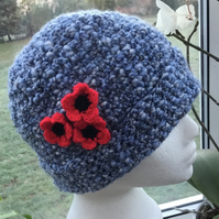 Emblem!  Soft Blue Mottled Crocheted Beanie or Slouchy Hat with Floral Accent