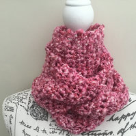 Candy!  Pretty Pink Chunky Crocheted Infinity Scarf in James C Brett Pulse Yarn.