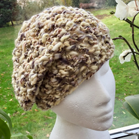 Pebble!  Triple Crocheted Slouchy or Beanie Hat in James C Brett Pulse Yarn.