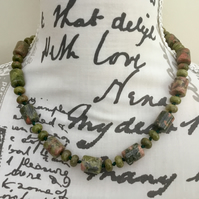 Gorgeous Greens!  A Pretty Short Unakite Gemstone Necklace or Choker.