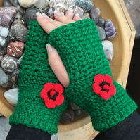 Emerald And Poppy!  Crocheted Fingerless Mittens with Floral Accents.