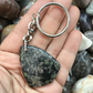 Unusual Black Silver Leaf Jasper Gemstone Keyring or Handbag Charm.