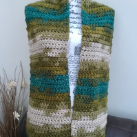 Favori Batik Chunky Crocheted Wide Scarf or Shoulder Wrap.