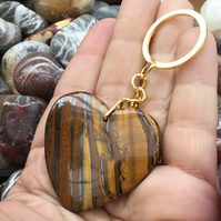 Gorgeous Iron Tiger's Eye Heart Gemstone Keyring or Handbag Charm.