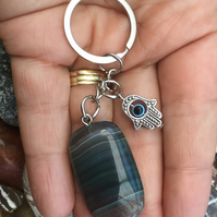 All Seeing Eye!  Lovely Blue Picture Agate & Hamsa Hand Keyring or Handbag Charm
