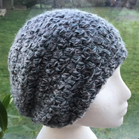 Triple Wave! Triple Shell Crocheted Slouchy, Soft Beret or Beanie Hat.