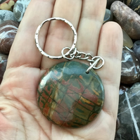Beautiful Green and Red Fancy Jasper Disc Gemstone Keyring or Handbag Charm!