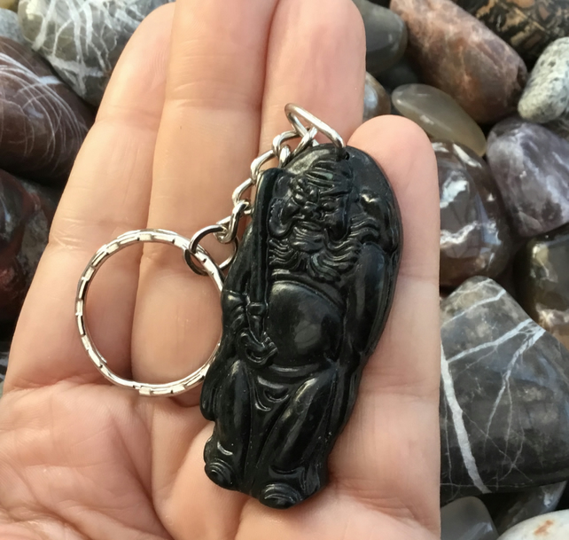 Guan Yu.  Loyalty and Righteousness Black Green Jade Keyring or Handbag Charm.