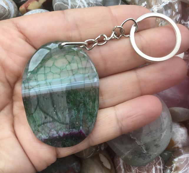 Sale! Misty Forest!  Lovely Picture Agate Gemstone Keyring or Handbag Charm.