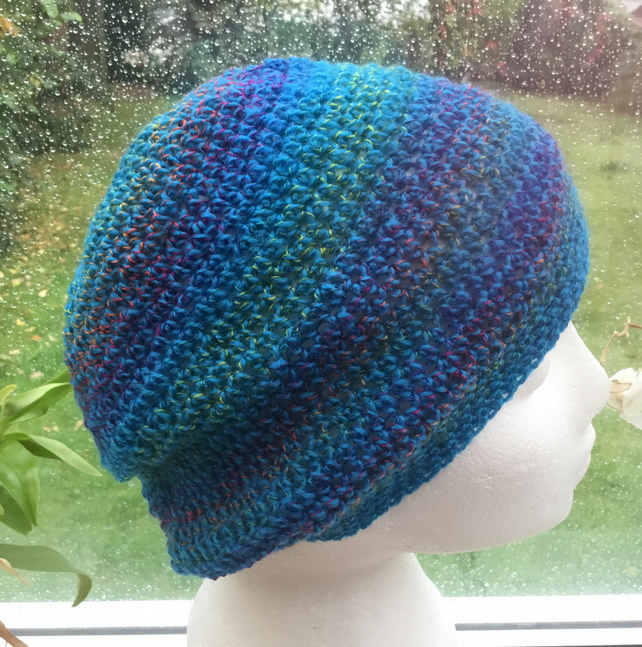 Turquoise Tones!  Crocheted Beanie, Slouchy or Soft Beret in Designer Yarn.