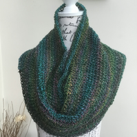 Peacock Tones!  Crocheted Infinity Scarf in Denys Brunton Designer Yarn.