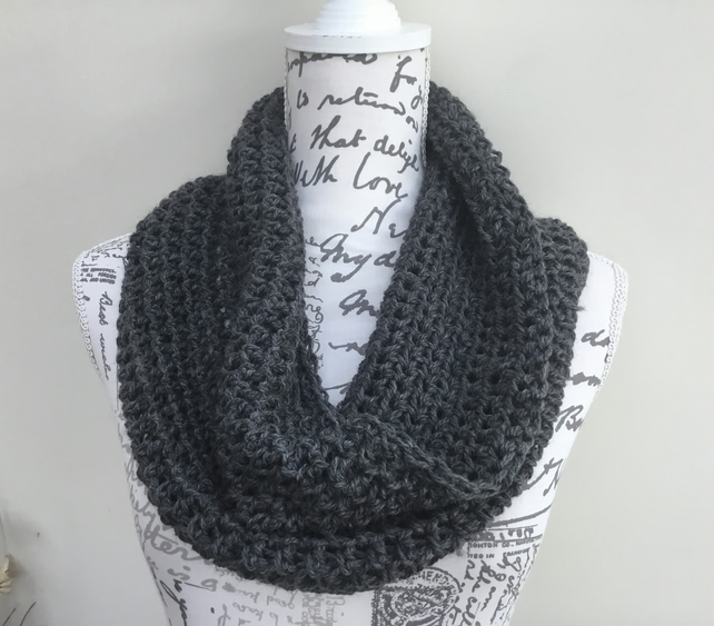 Chainmail!  Crocheted Chunky Infinity Scarf in Wool Yarn!