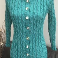 Jade Cable Twist!  Lovely Jade Toned Knitted Cardigan in Ruched Cable Twist.