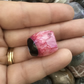 Lovely Pink and Black Centrally Drilled Crackle Agate Gemstone Barrel Bead.