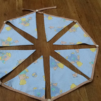 Handmade baby bunting ,pale blue with teddies